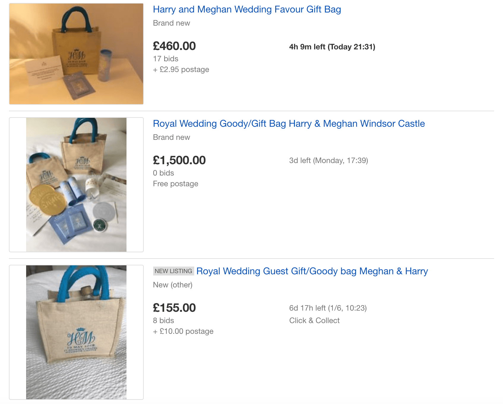 Royal wedding gift bags ebay