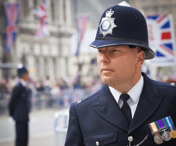 A security guard at Kate Middleton's royal wedding.