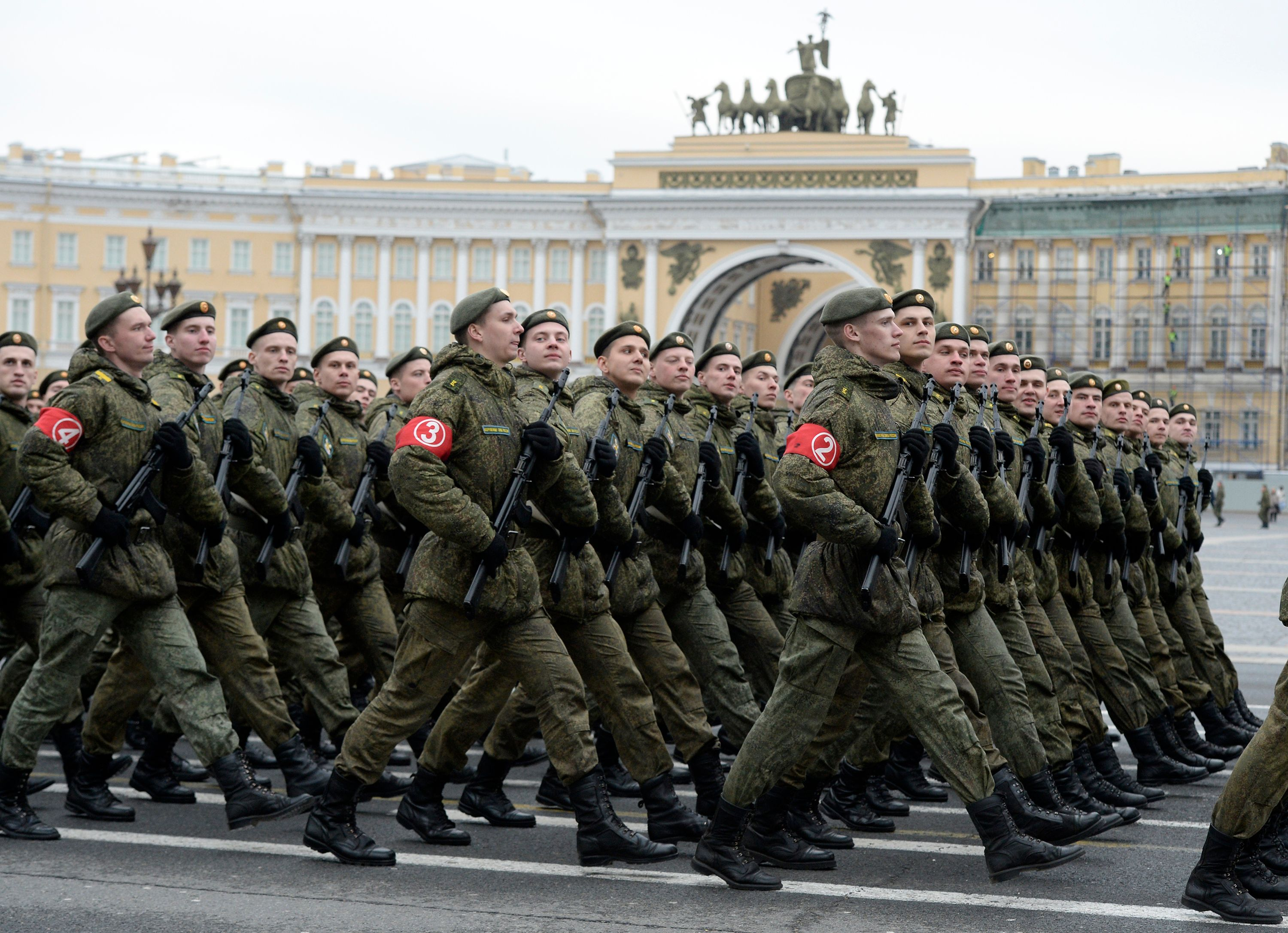 Russian military cadets march on Dvortsovaya Square