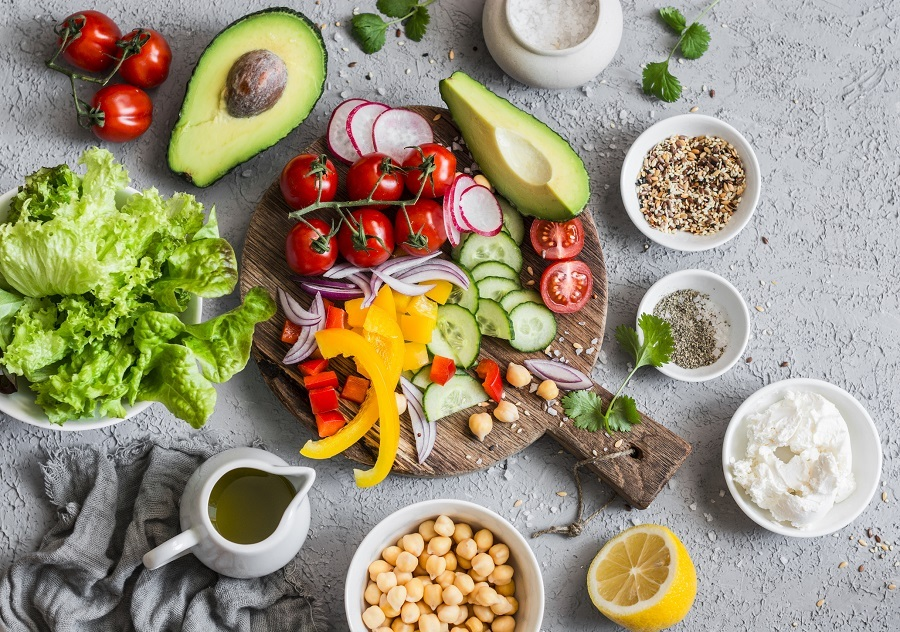Healthy, colorful food on a table