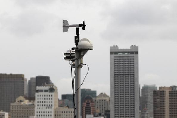 A RadNet radiation monitor is seen on the roof of the Bay Area Air Quality District offices