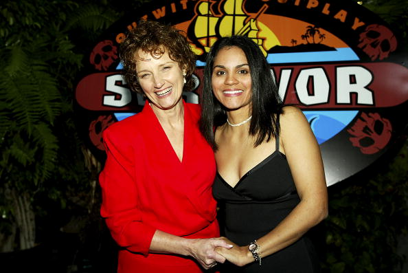 """Lillian Morris, (left) who finished in 2nd place, and the one million dollar winner, Sandra Diaz-Twine pose at the season finale of """"Survivor-Pearl Islands"""""""