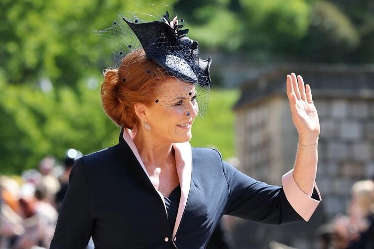 Duchess of York Sarah Ferguson waving to the crowd.
