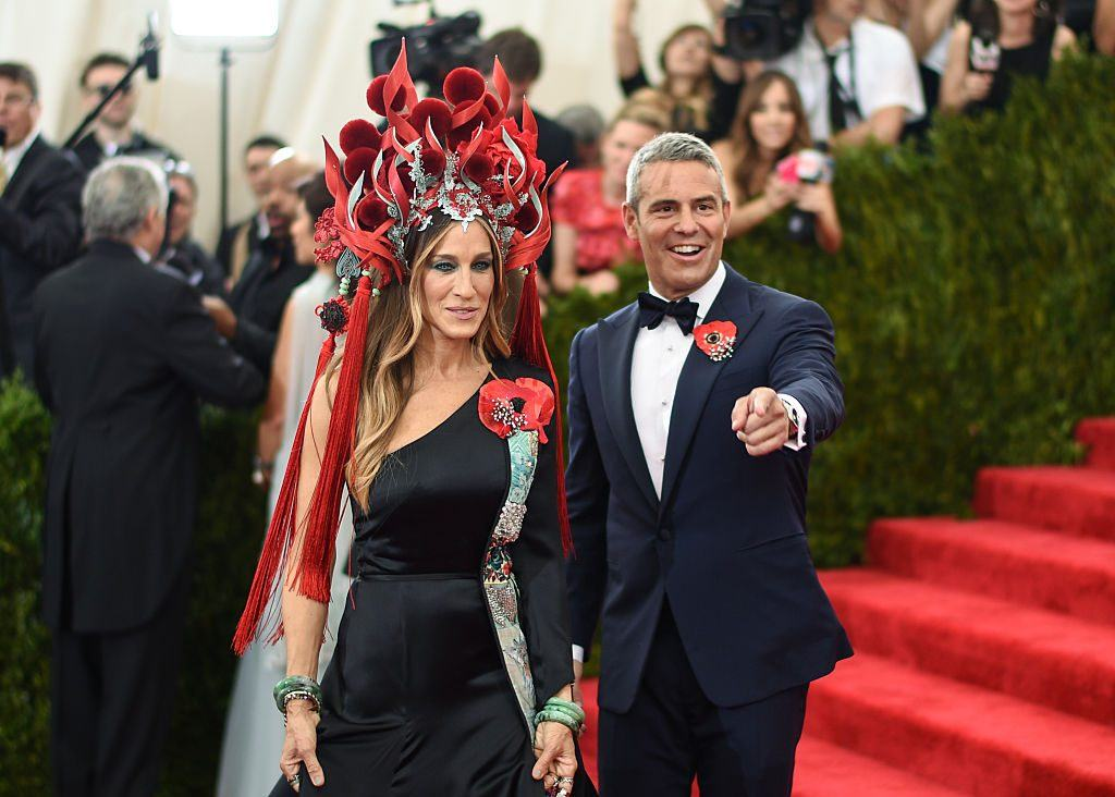 """Sarah Jessica Parker and Bravo's Andy Cohen attend the """"China: Through The Looking Glass"""" Costume Institute Benefit Gala at the Metropolitan Museum of Art on May 4, 2015 in New York City"""