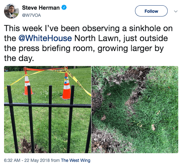 Tweet about White House sinkhole