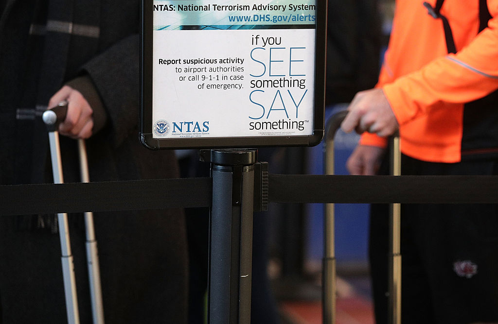 If your see something say something sign at the airport
