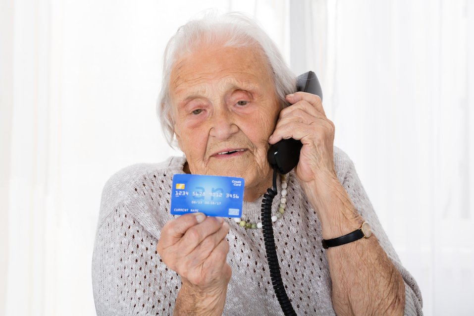 Senior women with her discount card