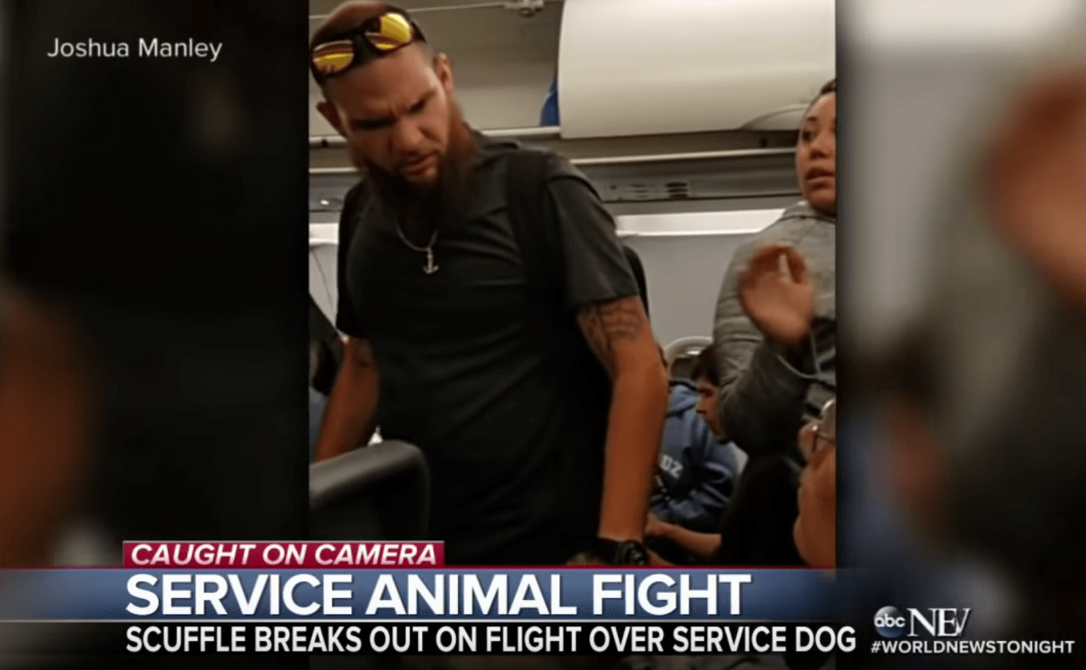 Deaf man threatening on plane over service dog