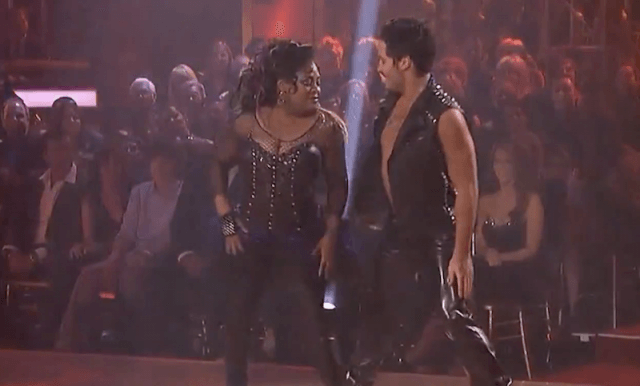 Sherri Shepherd and Maksim Chmerkovskiy on the dance floor.