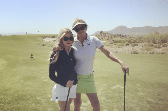 Caitlyn Jenner with Sophia Hutchinson on a golf course.