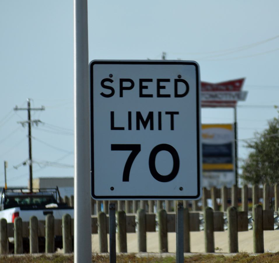 Speed Limit Sign indicating 70 MPH