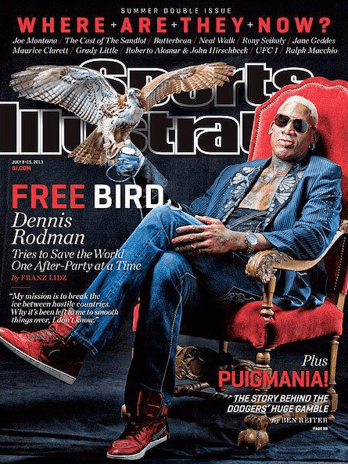 Dennis Rodman's Sports Illustrated issue.