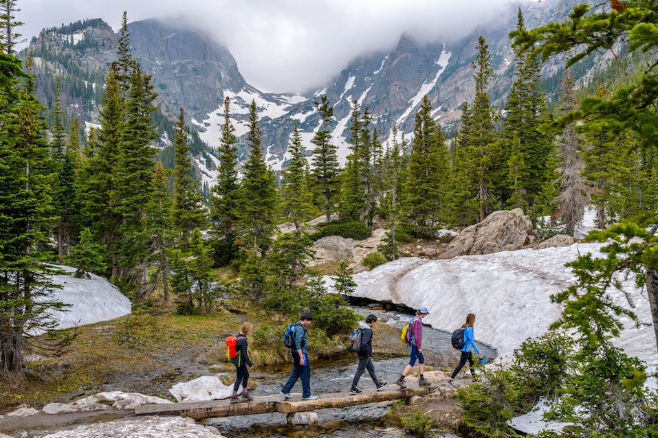 hikers walking in Rocky Mountain National Park.