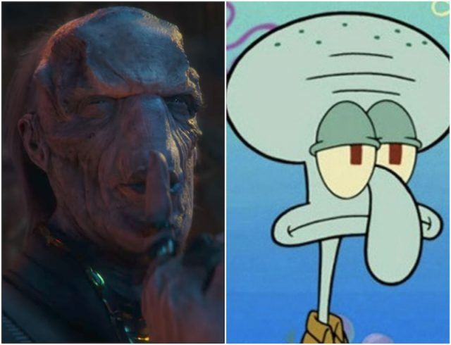 Collage featuring Ebony Maw and Squidward.