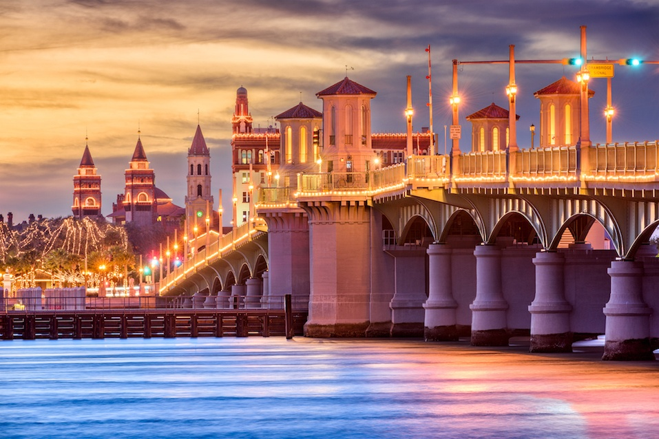 St. Augustine, Florida, is surrounded by water.