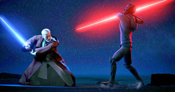 Obi-Wan and Darth Maul duel for the final time.   DisneyXD