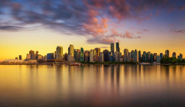 Sunset skyline of Vancouver