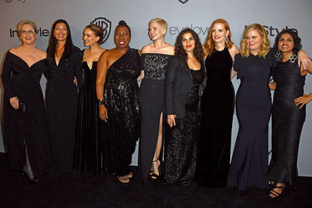 Celebrities on the red carpet dressed in black in support of the #MeToo movement.
