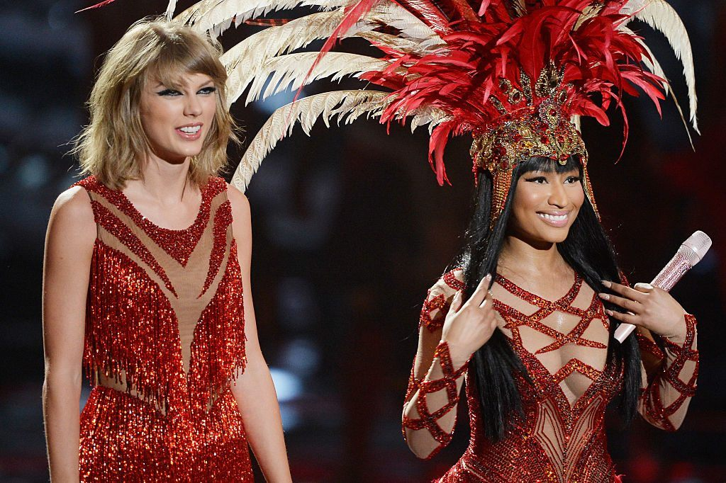 Taylor Swift and Nicki Minaj on stage during the 2015 MTV Video Music Awards