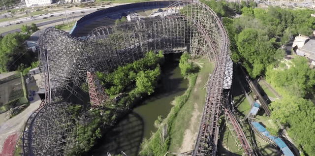 The Texas Giant seen from above.