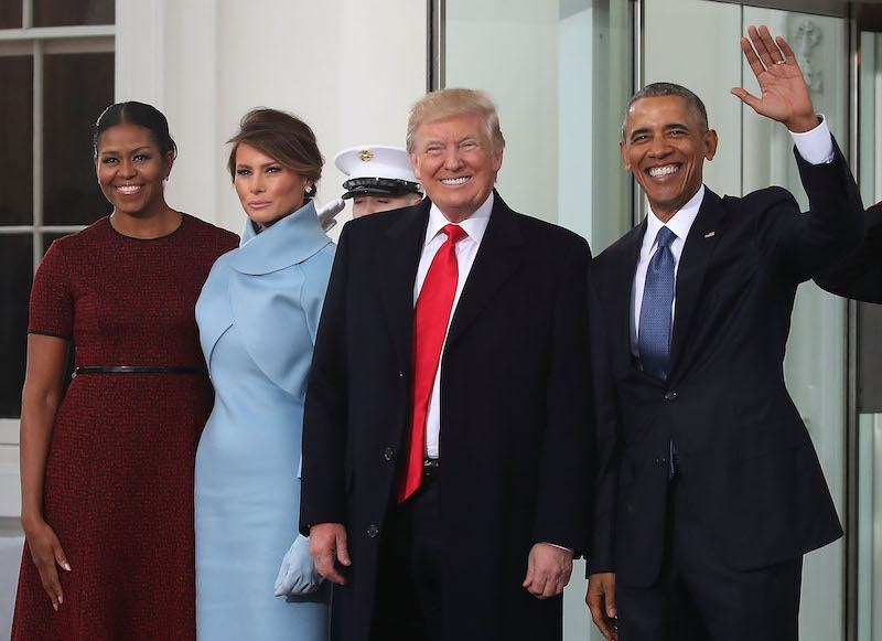 President-elect Donald Trump and Melania Trump are greeted by President Barack Obama and his wife first lady Michelle Obama