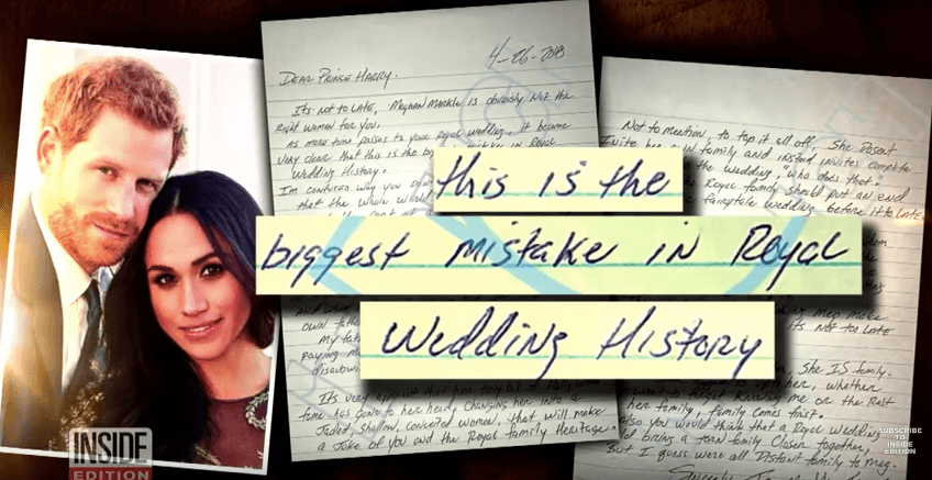 Thomas Markle's letter to Prince Harry on Inside Edition