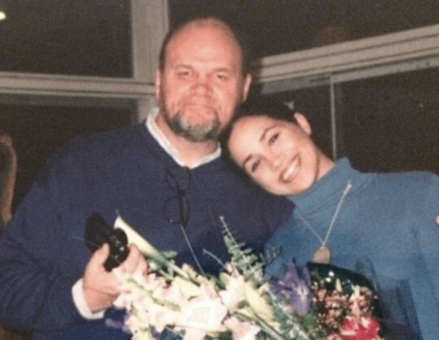 A young Meghan Markle smiling with her father.