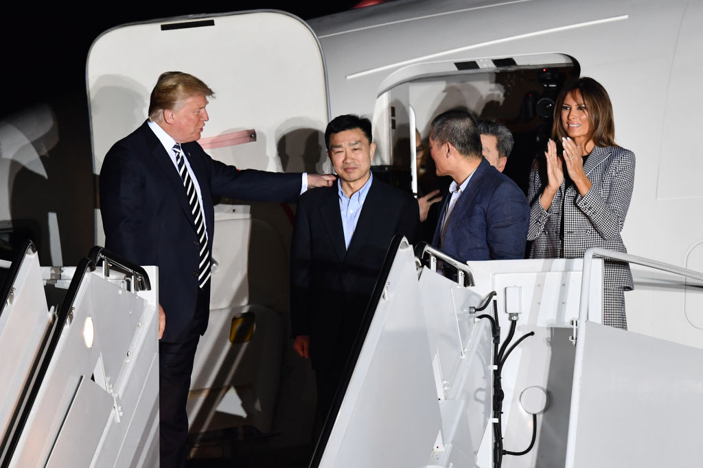 Tony Kim North Korean prisoner steps off plane