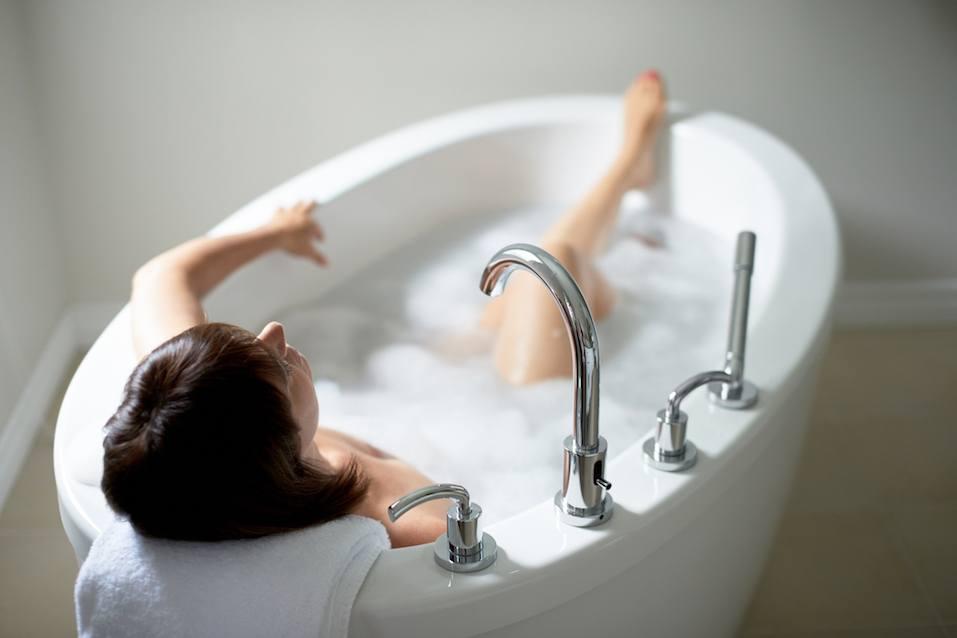 Women taking a bath
