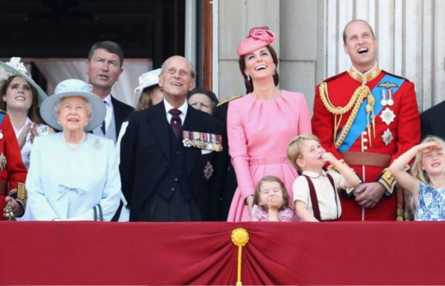 Camilla, Duchess of Cornwall, Prince Charles, Prince of Wales, Queen Elizabeth II, Prince Philip, Duke of Edinburgh, Catherine, Duchess of Cambridge, Princess Charlotte of Cambridge, Prince George of Cambridge and Prince William, Duke of Cambridge look out from the balcony of Buckingham Palace