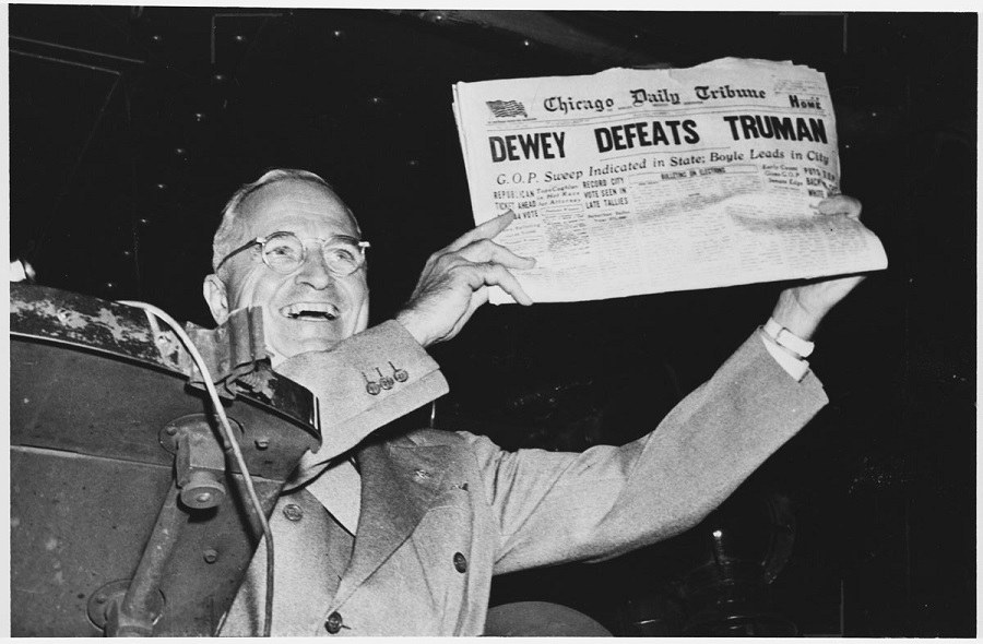 Truman with newspaper