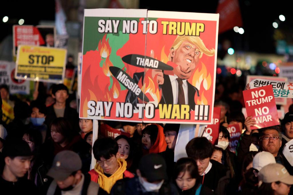 U.S. President Donald Trump Visits South Korea protests
