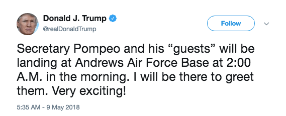 Donald Trump tweet about the American prisoners coming home from North Korea