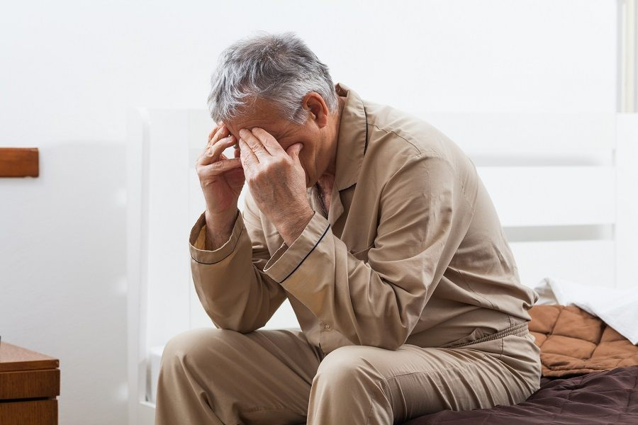 Old upset man