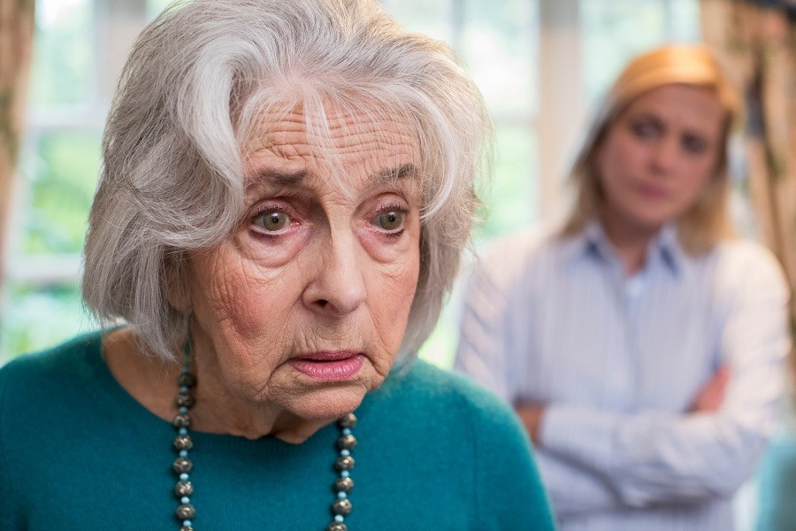 Upset older woman
