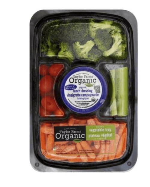 Organic veggie tray.