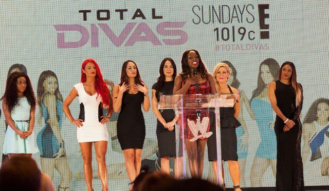 Naomi, Jojo, Eva Marie, Nikki Bella, Brie Bella, Natalya and Cameron of Total Divas attend WWE SummerSlam Press Conference