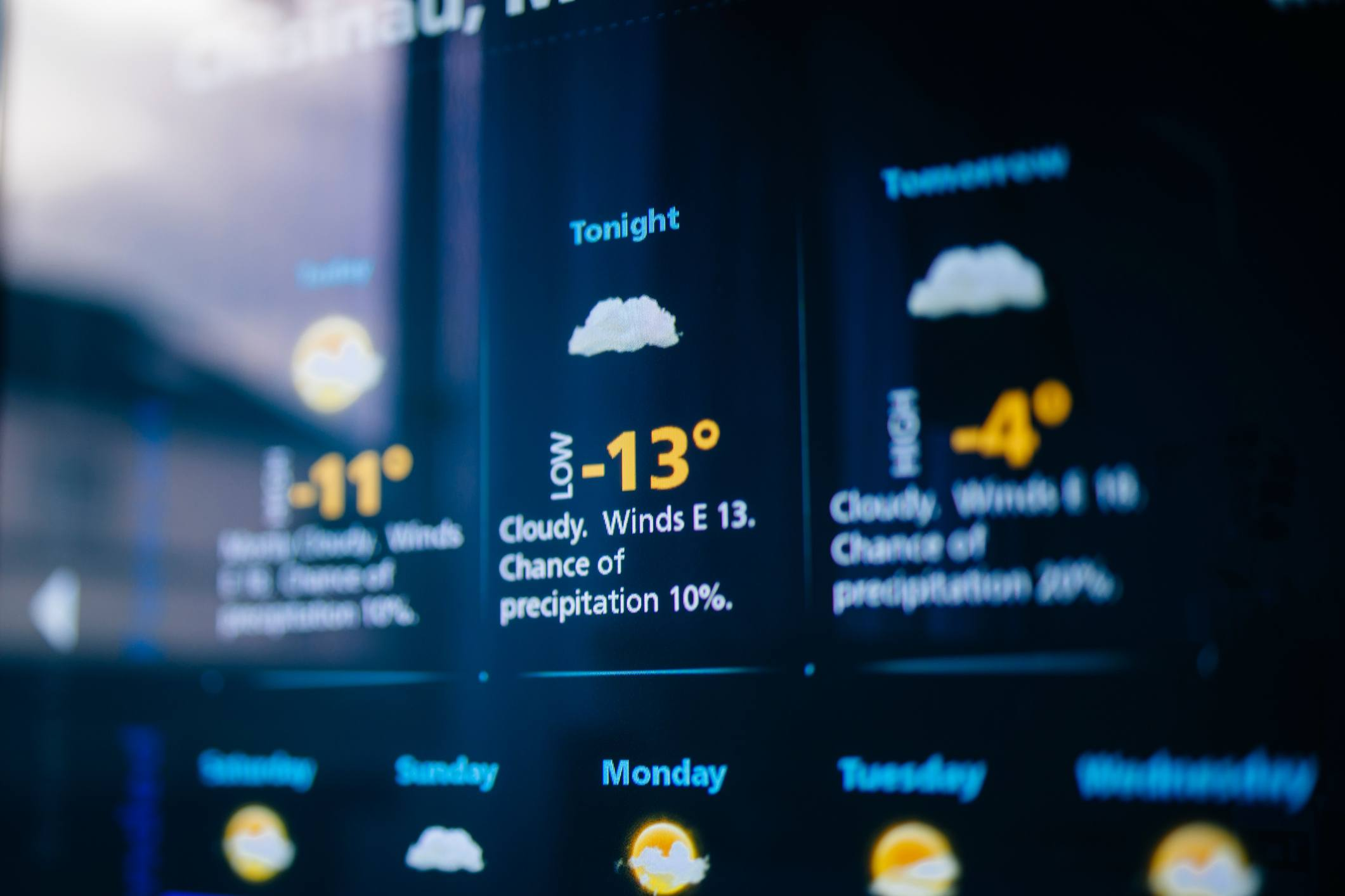 Weather forecast on a digital display