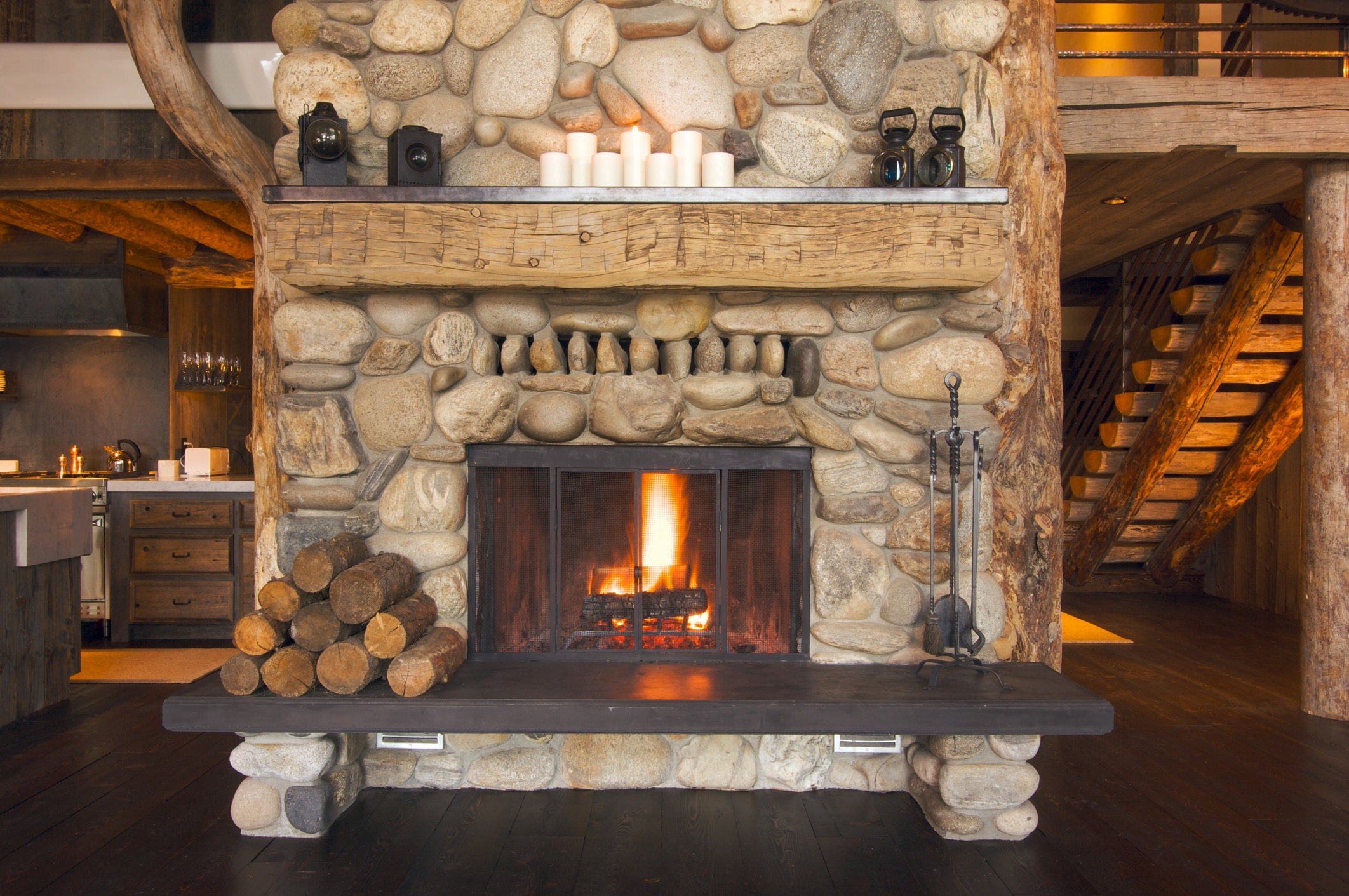 Rustic Fireplace interior living room