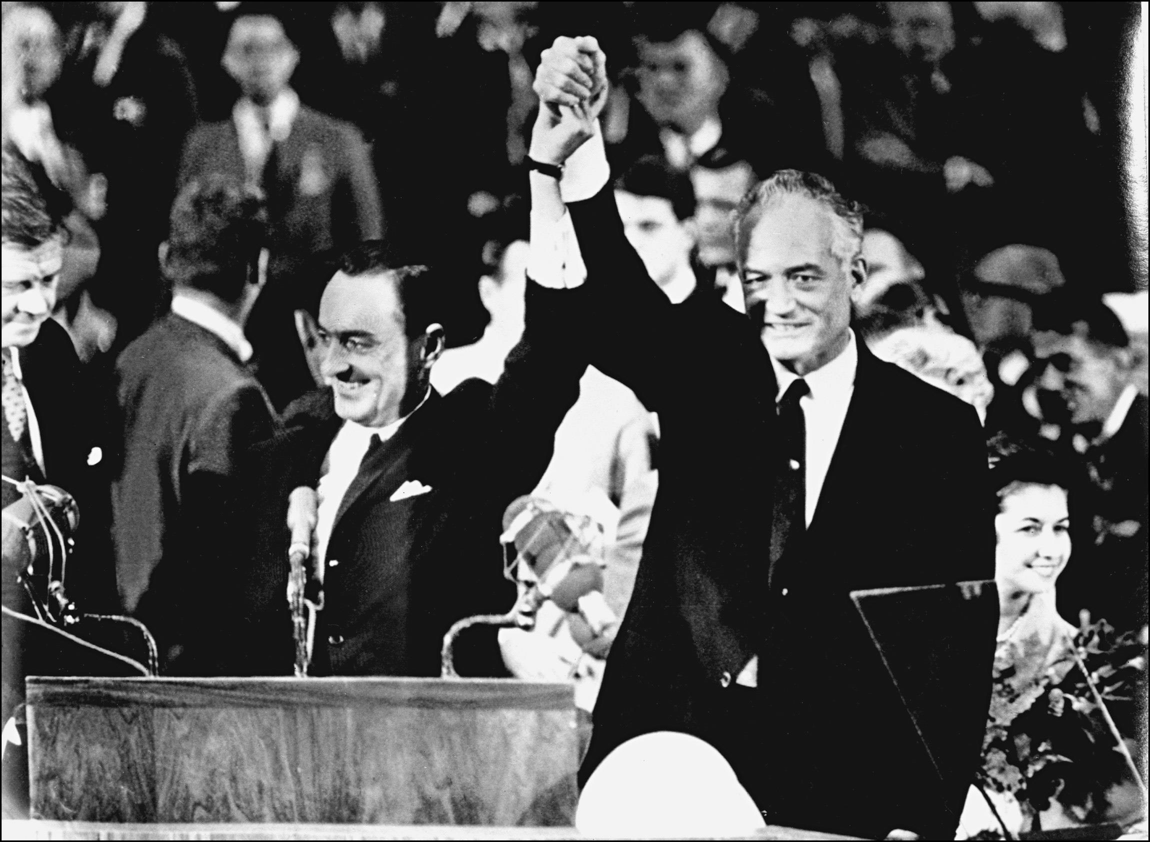 Barry Goldwater (R) and his running mate William Miller accepting the Republican Party nomination