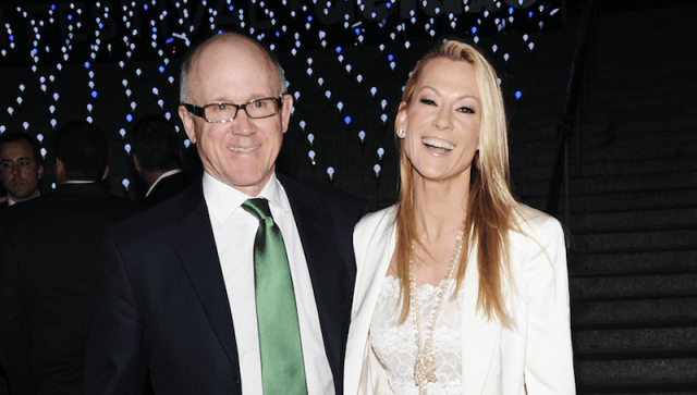 Suzanne Ircha and Woody Johnson at a party.