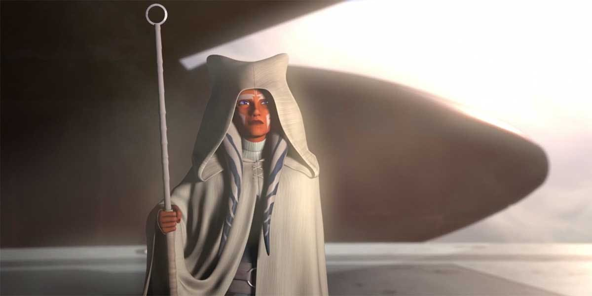 Ahsoka Tano holds a long white stick in the Rebels finale