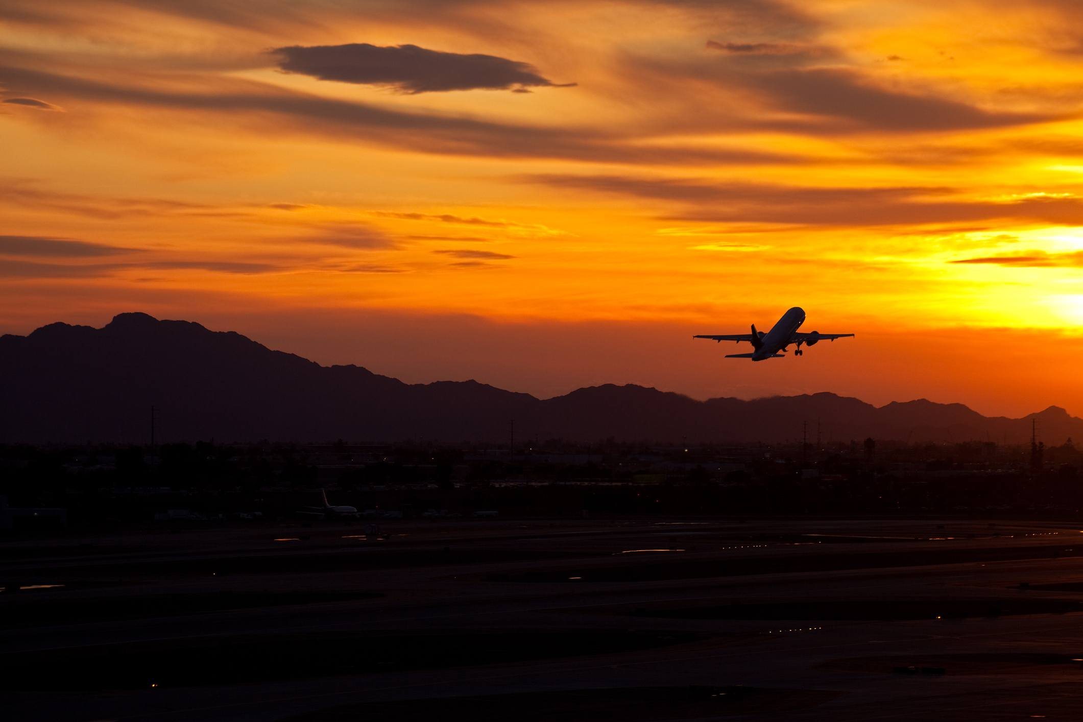 Airplane in the sunset
