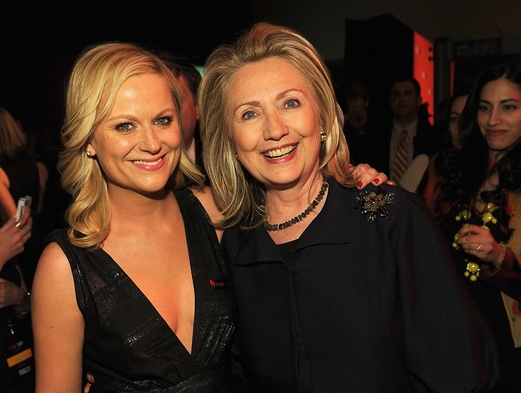 Actress Amy Poehler and Secretary of State Hillary Rodham Clinton attend the TIME 100 Gala, TIME'S 100 Most Influential People In The World, cocktail party at Jazz at Lincoln Center on April 24, 2012 in New York City.