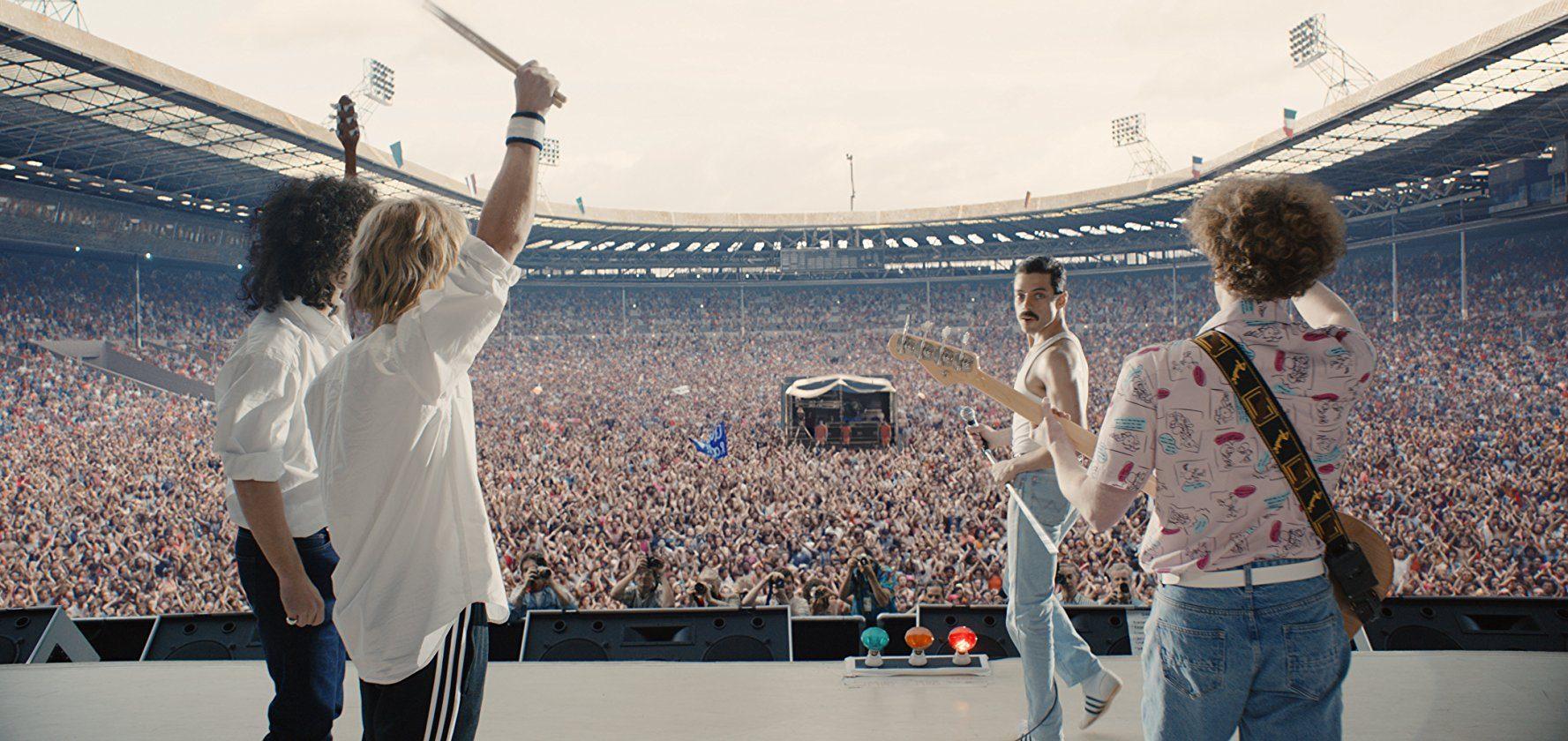 Rami Malek as Freddie Mercury in Bohemian Rhapsody, music movies