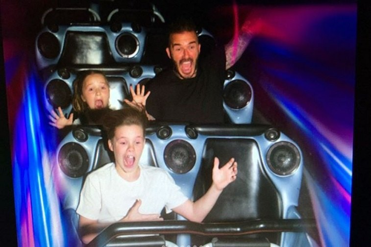 David Beckham and kids on Space Mountain
