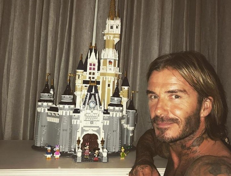David Beckham and a toy castle