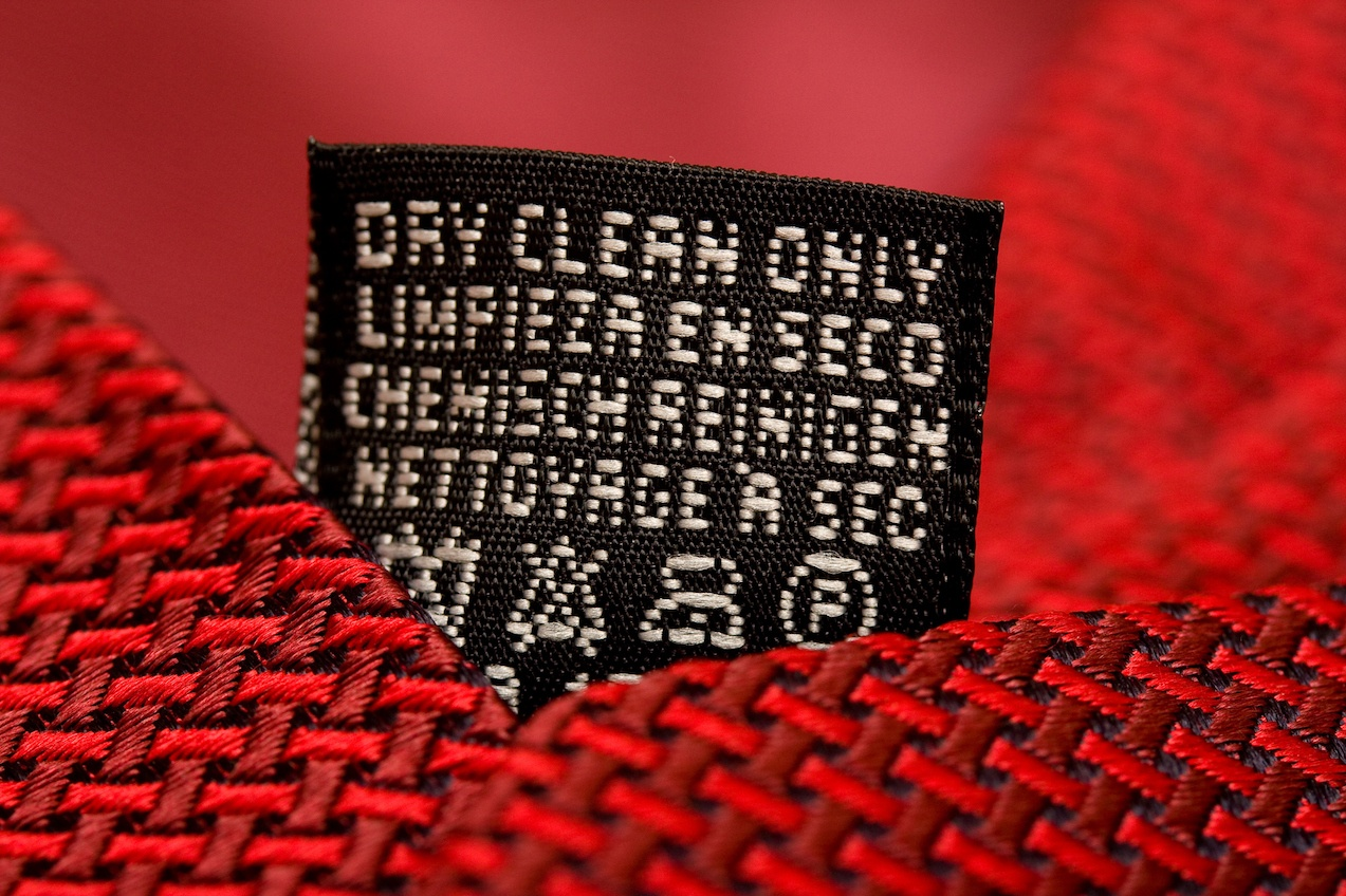 Dry clean only label on silk tie