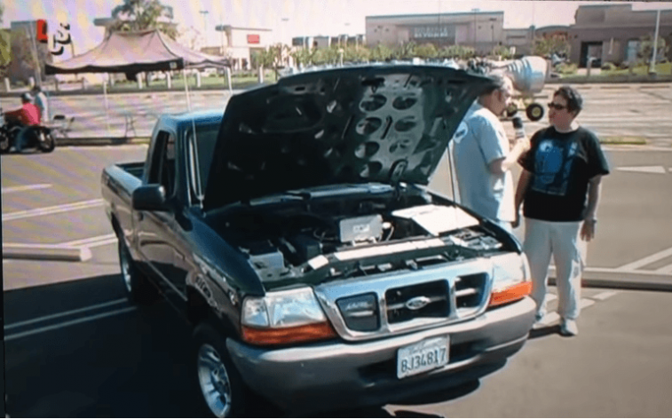 Still of an electric Ford Ranger from YouTube video