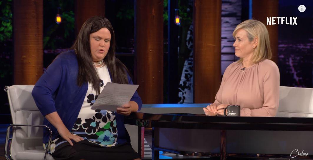 Fortune Feimster as Sarah Huckabee Sanders speaking to Chelsea Handler